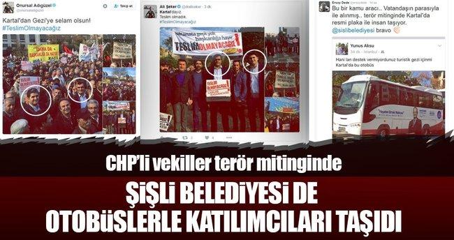 CHP'li vekiller terör mitinginde belediye otobüsle katılımcı taşıdı