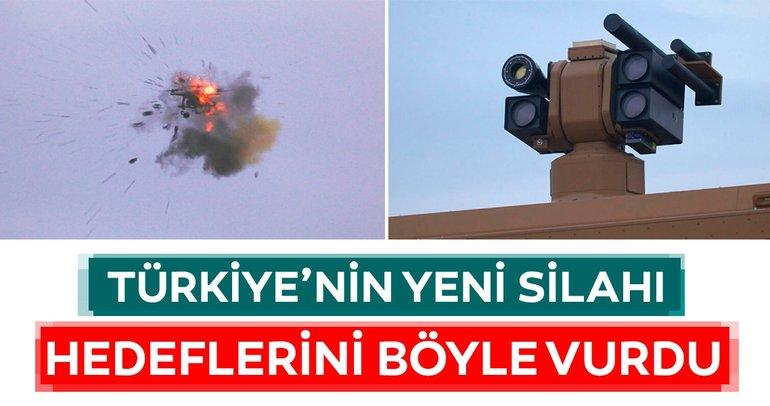 Türkiye'nin yeni silahından ilk görüntüler... Hedeflerini böyle vurdu!
