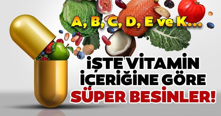 Vitamin içeriğine göre besin grupları sağlığınıza sağlık katacak! Vitamin eksikliği olanlara süper besinler...