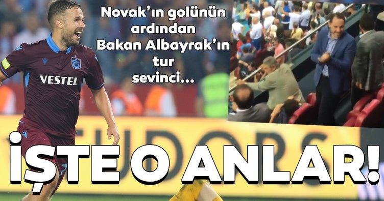 Filip Novak'ın golü sonrası Bakan Albayrak'ın tur sevinci