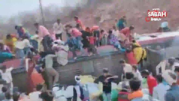 Hindistan'da işçileri taşıyan otobüs devrildi. Ölü ve yaralılar var | Video