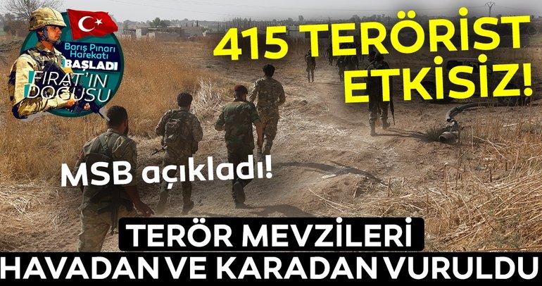 Son dakika: Barış Pınarı Harekatı kapsamında etkisiz hale getirilen terörist sayısı 415 oldu! Milli Savunma Bakanlığı duyurdu!