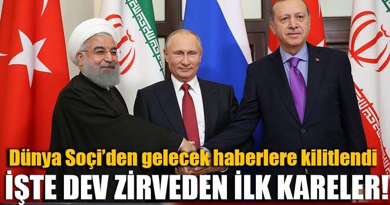Soçi'de Erdoğan, Putin ve Ruhani'li Üçlü Suriye Zirvesi