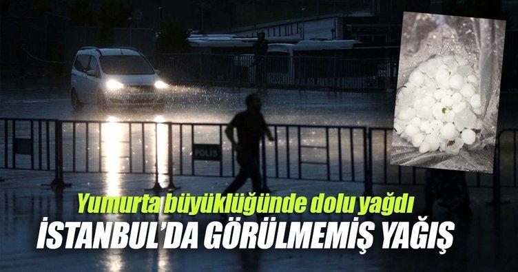 İstanbul'da çok şiddetli dolu yağışı!