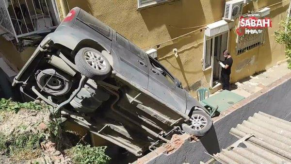 El frenini çekmeyi unuttu, araç bahçeye uçtu | Video