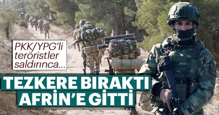 Tezkere bıraktı Afrin'e gitti