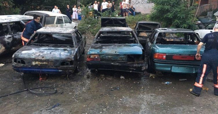 Park halindeki 6 otomobil yandı