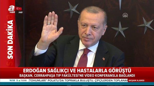 Son dakika: Cumhurbaşkanı Erdoğan, sağlık çalışanları ve hastalarla görüştü | Video