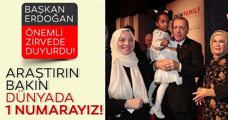 Başkan Erdoğan Kadın ve Adelet Zirvesi'nde duyurdu! Türkiye bir numara...