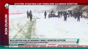 Boluspor - Galatasaray maçının stadı karla kaplandı