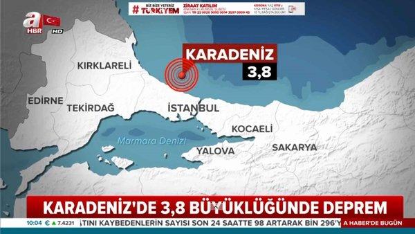 Karadeniz'de 3,8 büyüklüğünde deprem