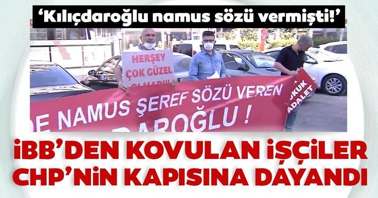 İBB'den kovulan işçiler CHP Genel Merkezi önünde hakkını arıyor