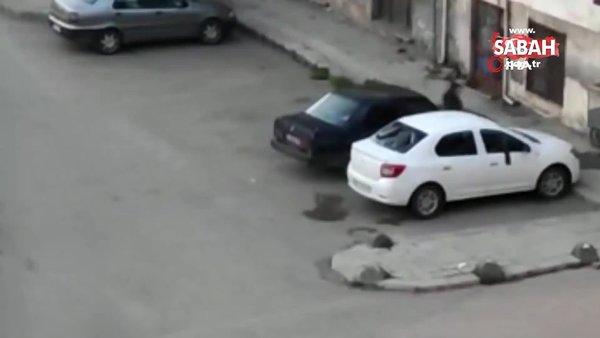 Husumetlisinin aracına saldırıp camlarını kırdı. O anlar kamerada | Video