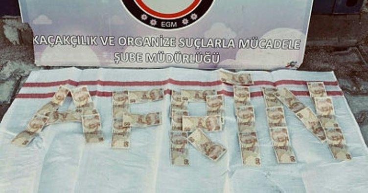 Bolu'da, yakalanan sahte paralarla 'Afrin' yazdılar
