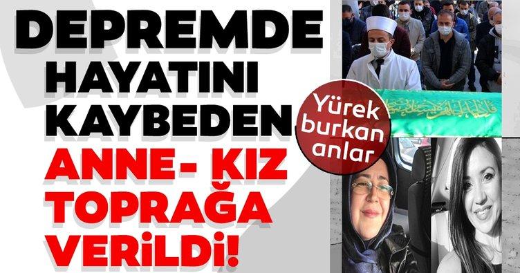 İzmir'deki depremde hayatını kaybeden anne ve kız Manisa'da toprağa verildi