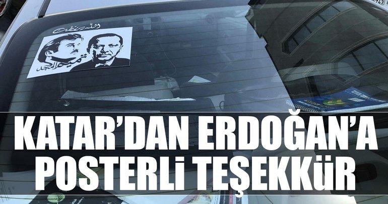 Katar'dan Erdoğan'a posterli teşekkür