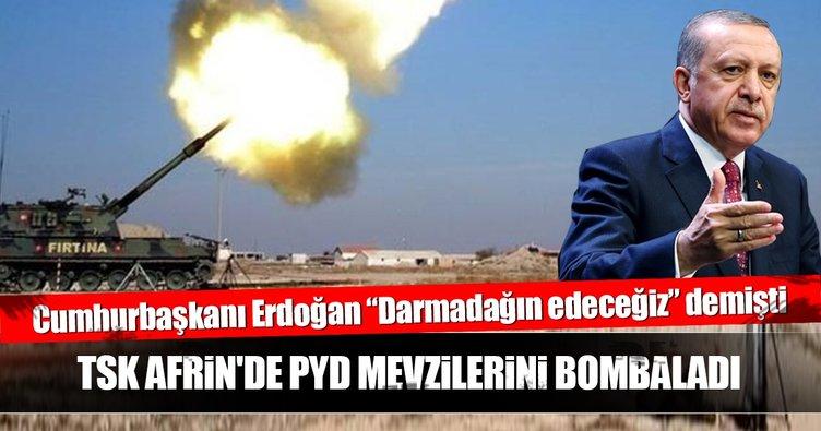 Son dakika: TSK, Afrin'de PYD mevzilerini vurdu