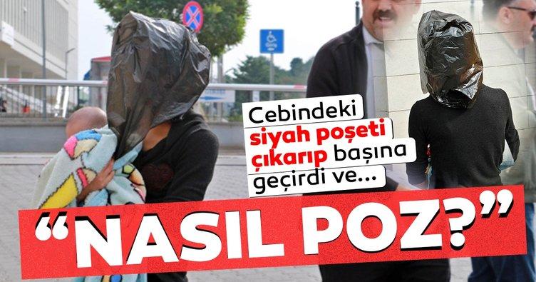 Samsun'da hırsızlık şüphelisi kadın başına siyah poşet takıp 'nasıl poz' dedi