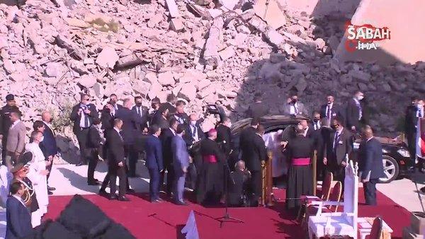 Papa Francis, Musul'da DEAŞ'ın yıktığı kilisede ayin düzenledi | Video