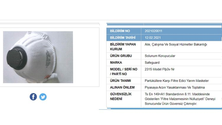 SON DAKİKA   Bakanlık açıkladı: 41 maske markası güvensiz çıktı! Sakın bu maskeleri kullanmayın!