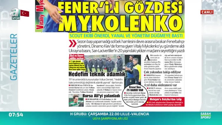 Fenerbahçe'den Mykolenko bombası!