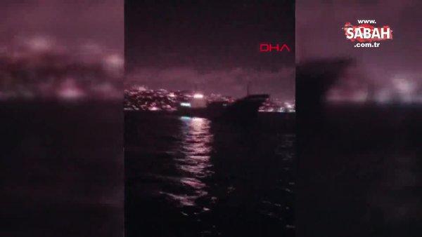 Boğazda sürüklenen yük gemisi son anda durabildi | Video