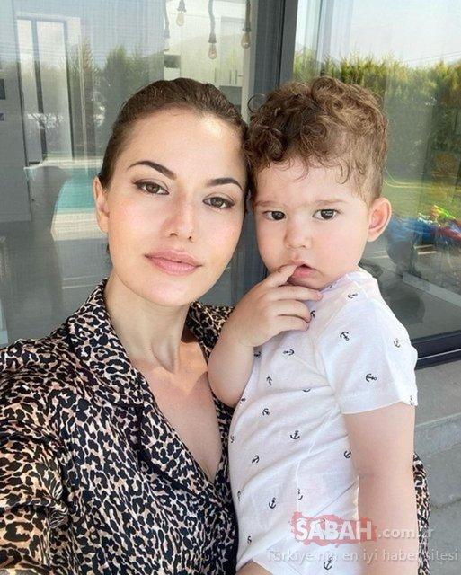 Fahriye Evcen oğlu Karan ile pozuna Her şeyim notunu düştü! İşte güzel anne Fahriye Evcen'in duygusal paylaşımı...
