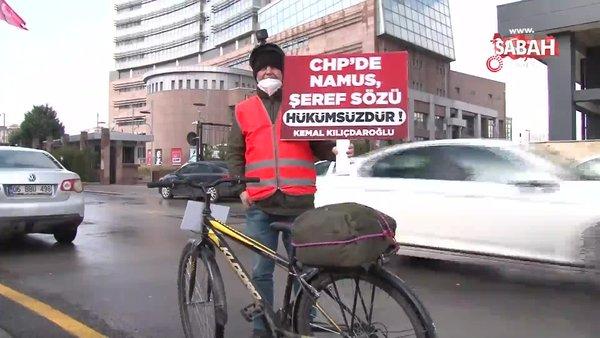 İSPARK'tan çıkartılan işçiden CHP Genel Merkezi önünde bisikletli eylem | Video