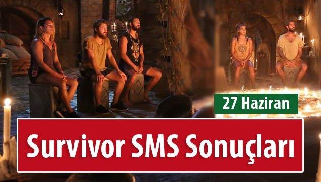 Survivor Halk SMS Oylaması Sonuçları (Oy Sıralaması) - 27 Haziran 2016