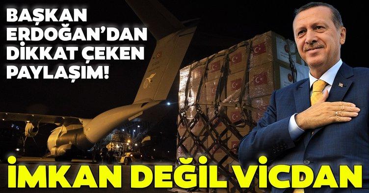 Başkan Erdoğan'dan flaş paylaşım: Medeniyet imkan değil, vicdan meselesidir