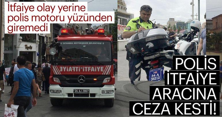Taksim Meydanı'nda trafik polisi itfaiye gerginliğİ