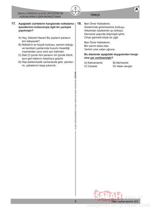 LGS soruları ve cevapları 2018 yayınlandı! Liseye Geçiş Sınavı (LGS) sınavı soru ve cevap anahtarı Sabah'ta