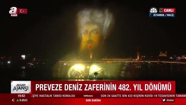 Preveze Deniz Zaferi'nin yıl dönümünde Haliç'te hologram gösterisi | Video