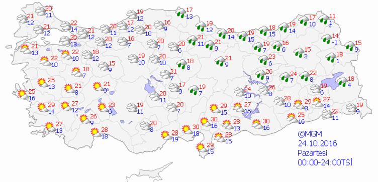 Yurtta 5 günlük hava durumu (24.10.2016)
