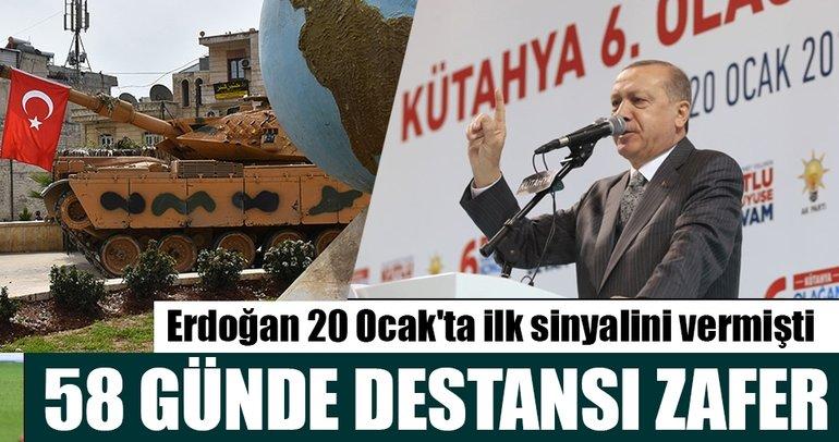 Afrin ve 6 belde merkezi 58 günde terörden arındırıldı
