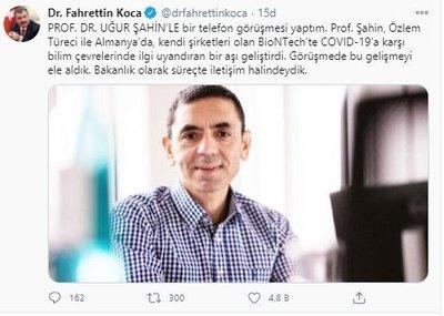 Bakan Koca, BioNTech kurucusu Prof. Dr. Uğur Şahin'le görüştü - Son Dakika  Haberler
