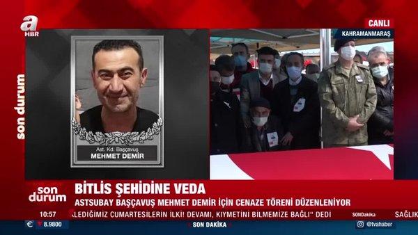 SON DAKİKA: Bitlis Şehidi Astsubay Başçavuş Mehmet Demir dualarla son yolculuğuna uğurlandı | Video