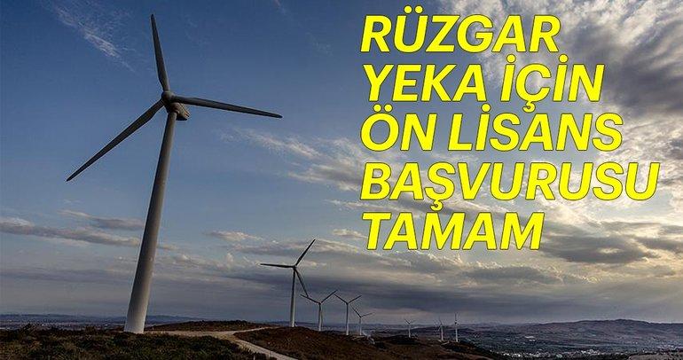 Rüzgar YEKA için ön lisans başvurusu tamam