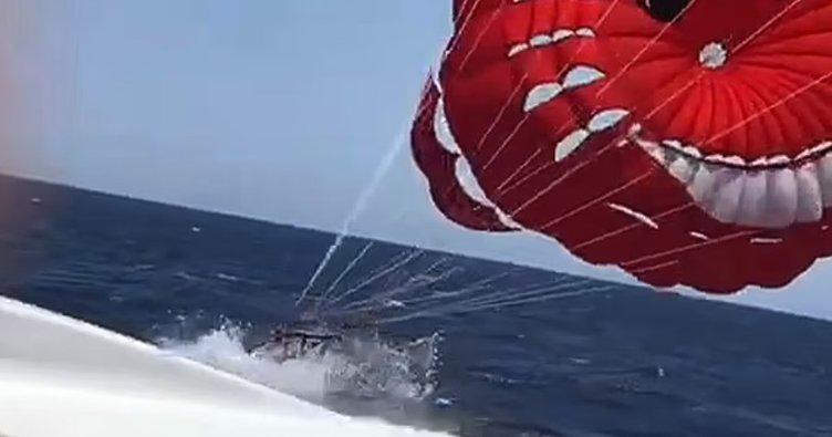 Denizde korkunç olay! Paraşütlü turist hız teknesine böyle çarptı