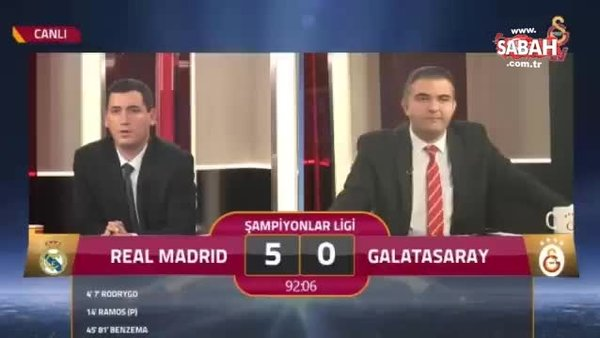 """Galatasaray TV'deki Real Madrid maçını anlatan spikerin şok sözleri olay oldu """"5'e razıydık"""""""