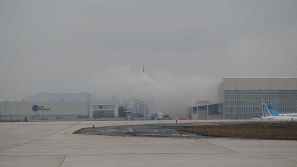 Havalimanında yangın paniği
