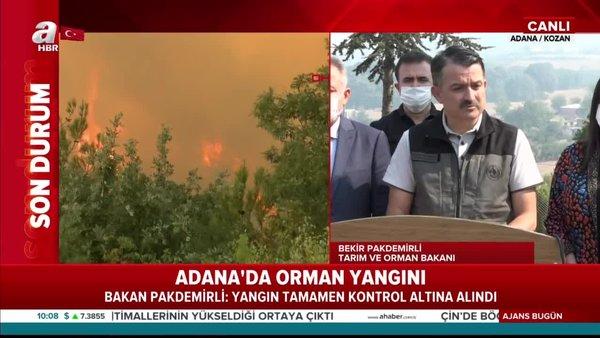 Tarım ve Orman Bakanı Bekir Pakdemirli'den Adana'da orman yangını hakkında son dakika önemli açıklamalar | Video