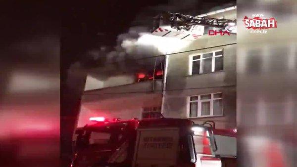 İstanbul Ümraniye'de 3 katlı binada yangın paniği   Video