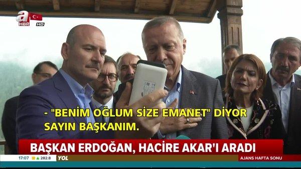 Cumhurbaşkanı Erdoğan, oğluna kavuşan Hacire Akar'la görüntülü olarak görüştü