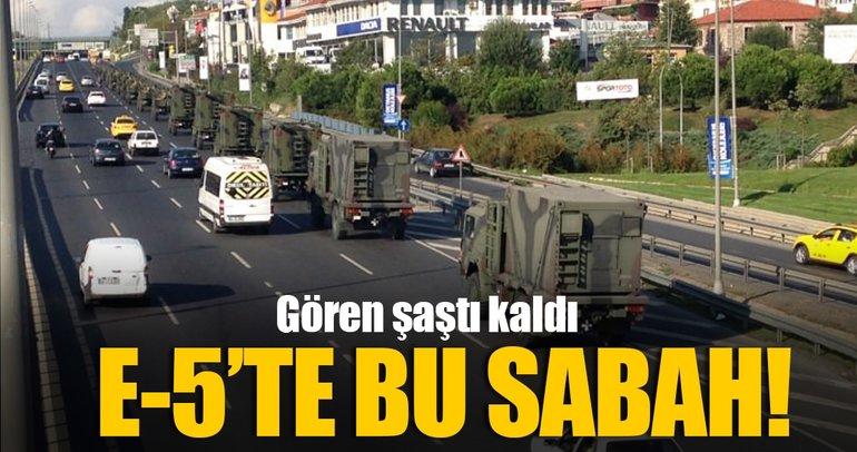 E-5'te askeri konvoy görenleri şaşırttı