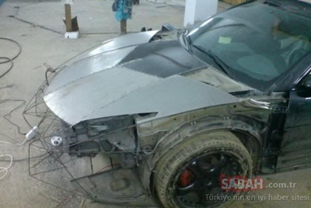 Pes artık dedirten olay! Parası yetmeyince kendi spor otomobilini yaptı! İşte karşınızda ev yapımı Lamborghini
