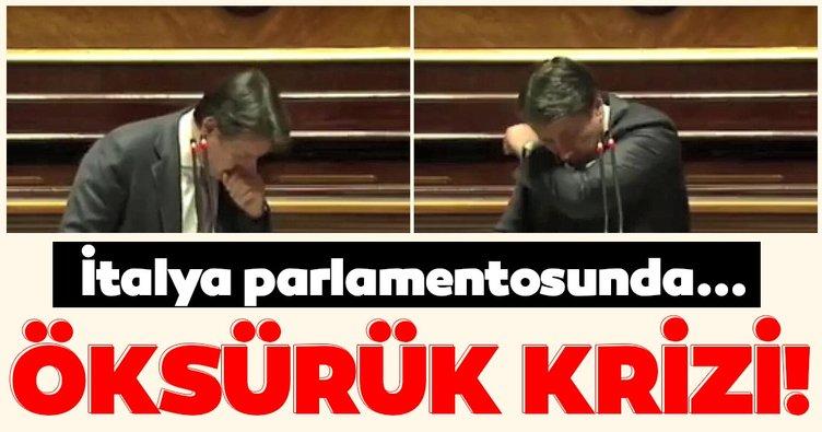 İtalya parlamentosunda şoke eden görüntüler! İtalya Başbakanı Conte, öksürük krizine girdi