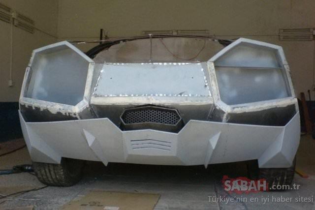 Parası yetmeyince evde Lamborghini yaptı! Genç mühendisin arabası görenleri şoke ediyor