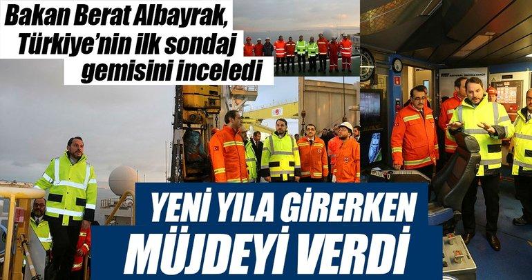 Bakan Berat Albayrak, Türkiye'nin ilk sondaj gemisini inceledi