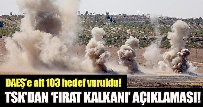 Fırat Kalkanı Harekatı'nda 103 DAEŞ hedefi imha edildi